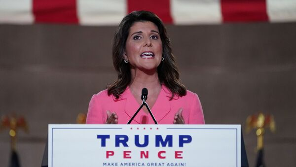 Former U.S. Ambassador to the United Nations Nikki Haley speaks to the largely virtual 2020 Republican National Convention in a live address from the Mellon Auditorium in Washington, U.S., August 24, 2020 - Sputnik International