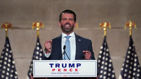 Donald Trump Jr. delivers a pre-recorded speech to the largely virtual 2020 Republican National Convention from Washington, U.S., August 24, 2020 - Sputnik International