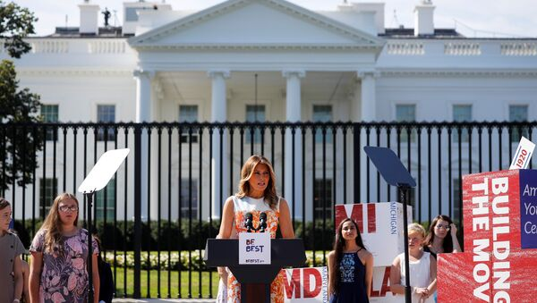 First Lady Melania Trump speaks during an event with young artists who depicted imagery related to the suffrage movement and the 19th Amendment, at the White House in Washington, U.S., August 24, 2020.  - Sputnik International