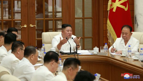 North Korean leader Kim Jong Un attends an enlarged meeting of the Political Bureau of the 7th Central Committee of the Workers' Party of Korea (WPK), in Pyongyang, North Korea, in this image released August 25, 2020 by North Korea's Korean Central News Agency (KCNA)   - Sputnik International
