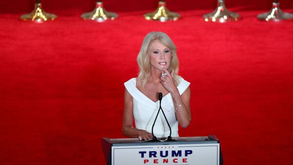 White House counselor Kellyanne Conway looks on before delivering a pre-recorded address to the largely virtual 2020 Republican National Convention from the Mellon Auditorium in Washington, U.S., August 26, 2020 - Sputnik International