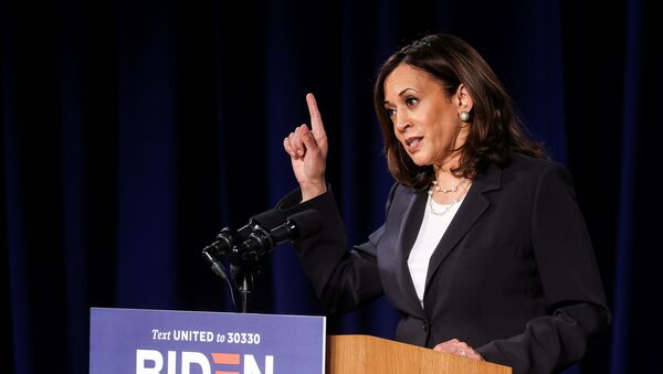 Democratic U.S. vice presidential nominee Kamala Harris delivers a campaign speech in Washington, U.S., August 27, 2020, hours ahead of the conclusion of the Republican National Convention. - Sputnik International