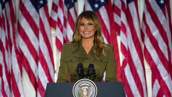 U.S. first lady Melania Trump delivers her live address to the largely virtual 2020 Republican National Convention from the Rose Garden of the White House in Washington, U.S., August 25, 2020 - Sputnik International
