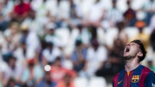 Barcelona's Lionel Messi is overjoyed during a Spanish La Liga soccer match between Cordoba and FC Barcelona at El Arcangel stadium in Cordoba, Spain, on Saturday 2 May 2015.  - Sputnik International