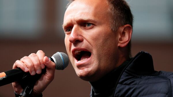Russian opposition leader Alexei Navalny delivers a speech during a rally to demand the release of jailed protesters, who were detained during opposition demonstrations for fair elections, in Moscow, Russia September 29, 2019 - Sputnik International