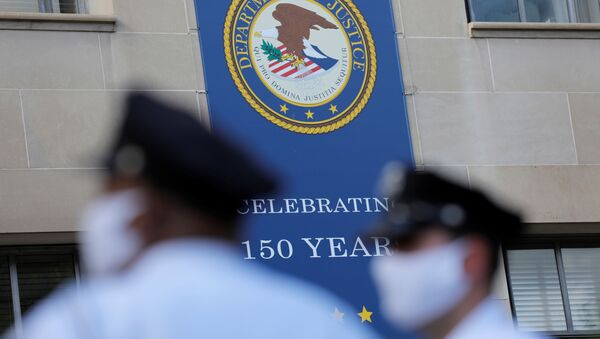 Signage is seen at the United States Department of Justice headquarters in Washington, D.C., U.S., August 29, 2020. - Sputnik International