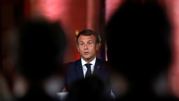 French President Emmanuel Macron speaks during a news conference at the Pine Residence, the official residence of the French ambassador to Lebanon, in Beirut on 1 September 2020. - Sputnik International