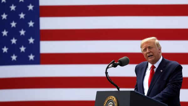 U.S. President Donald Trump delivers remarks to mark the 75th anniversary of the end of World War II and to designate Wilmington as an American World War II Heritage City during an event held at the USS Battleship North Carolina in Wilmington, North Carolina, U.S., September 2, 2020. - Sputnik International
