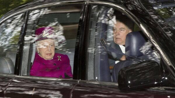 Britain's Queen Elizabeth arrives with her son Prince Andrew, at Crathie Kirk to attend a Sunday morning church service near Balmoral, Scotland, Sunday, Sept. 15, 2019. - Sputnik International