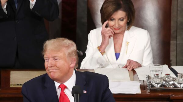 WASHINGTON, DC - FEBRUARY 04: President Donald Trump delivers the State of the Union address as House Speaker Rep. Nancy Pelosi (D-CA) looks on in the chamber of the U.S. House of Representatives on February 04, 2020 in Washington, DC. - Sputnik International