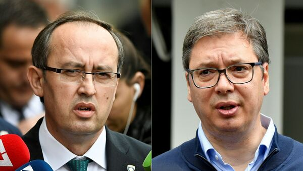 This combination of file photographs created on July 6, 2020 shows (L) newly elected Kosovo Prime Minister Avdullah Hoti as he speaks to the media in Pristina on June 3, 2020 and (R) Serbian President Aleksandar Vucic addressing the media outside a polling station in Belgrade on June 21, 2020. - The United States hopes to foster a breakthrough in talks between Balkan war foes Kosovo and Serbia as leaders of the two countries meet at the White House September 3 and September 4, 2020. More than two decades after their bloody ethnic conflict, Serbia refuses to recognize the independence that its former province Kosovo declared in 2008. - Sputnik International