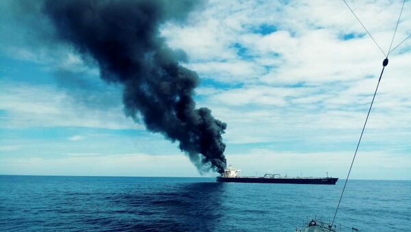 The New Diamond, a very large crude carrier (VLCC) chartered by Indian Oil Corp (IOC) that was carrying the equivalent of about 2 million barrels of oil, is seen after a fire broke out, off the east coast of Sri Lanka September 3, 2020.  - Sputnik International