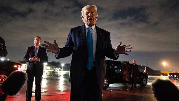 President Donald Trump talks with reporters at Andrews Air Force Base after attending a campaign rally in Latrobe, Pa., Thursday, Sept. 3, 2020, at Andrews Air Force Base, Md. - Sputnik International