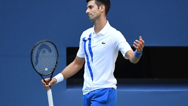 Sep 6, 2020; Flushing Meadows, New York, USA; Novak Djokovic of Serbia reacts after losing a point against Pablo Carreno Busta of Spain (not pictured) on day seven of the 2020 U.S. - Sputnik International