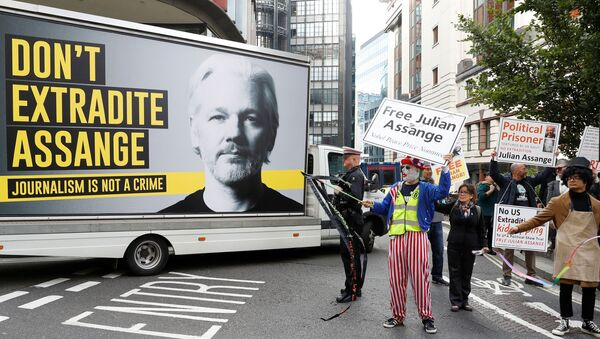 Supporters of WikiLeaks founder Julian Assange are seen outside the Old Bailey, the Central Criminal Court ahead of a hearing to decide whether Assange should be extradited to the United States, in London, Britain September 7, 2020. REUTERS/Peter Nicholls - Sputnik International