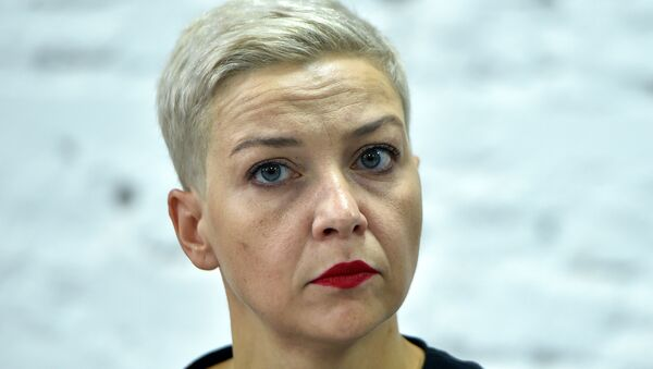 In this file photo taken on August 24, 2020 opposition figure Maria Kolesnikova, a member of the Coordination Council formed by the opposition to oversee efforts for a peaceful transition of power, attends a press conference on the 16th day of protests over disputed presidential elections results in Minsk. - Kolesnikova's office said witnesses described her being snatched off the street in the capital Minsk on September 7, 2020 morning by unidentified men in black who bundled her into a minibus marked Communications. Belarusian border guards said she had been detained while trying to cross the Ukrainian border, but Kiev said she was being held after resisting a forced deportation.  - Sputnik International