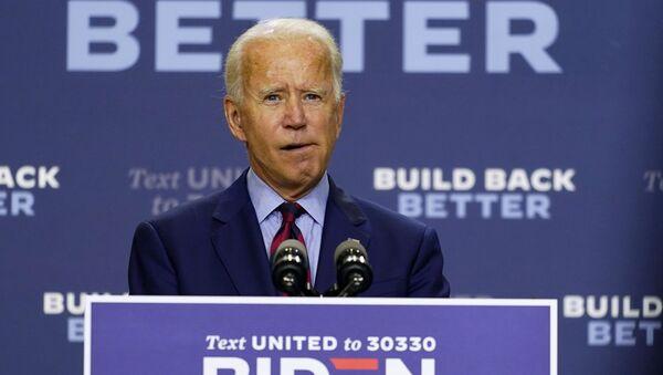 Democratic presidential candidate former Vice President Joe Biden speaks about the economic crisis in Wilmington, Del., Friday Sept. 4, 2020 - Sputnik International