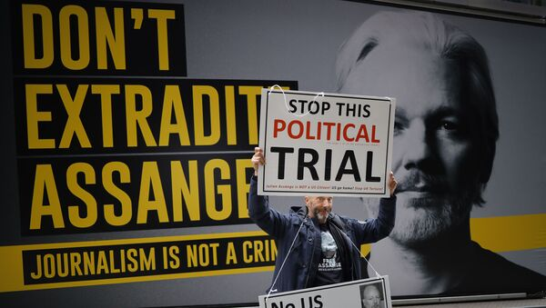 A demonstrator protests outside of the Old Bailey court in central London on 8 September 2020, on the second day of the resumption of WikiLeaks founder Julian Assange's extradition hearing.  - Sputnik International