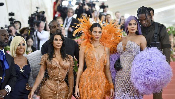 Corey Gamble, from left, Kris Jenner, Kim Kardashian, Kanye West, Kendall Jenner, Kylie Jenner and Travis Scott attend The Metropolitan Museum of Art's Costume Institute benefit gala celebrating the opening of the Camp: Notes on Fashion exhibition on Monday, May 6, 2019, in New York. - Sputnik International