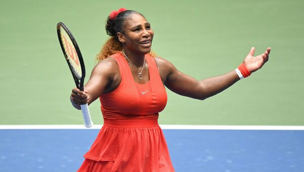 Sep 9 2020; Flushing Meadows, New York,USA; Serena Williams of the United States reacts after losing a point against Tsvetana Pironkova of Bulgaria (not pictured) in a women's singles quarter-finals match on day nine of the 2020 U.S. Open tennis tournament at USTA Billie Jean King National Tennis Center. - Sputnik International