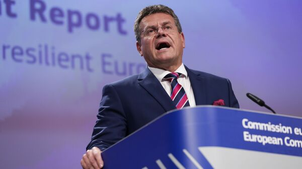 European Commissioner for Inter-institutional Relations and Foresight Maros Sefcovic talks to journalists during a news conference at the European Commission headquarters in Brussels, Wednesday, Sept. 9, 2020 - Sputnik International