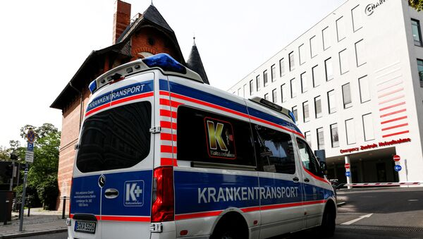 An ambulance is seen at Charite Mitte Hospital Complex, after Russian opposition leader and President Vladimir Putin critic Alexei Navalny came out of a medically induced coma, in Berlin, Germany, September 8, 2020 - Sputnik International