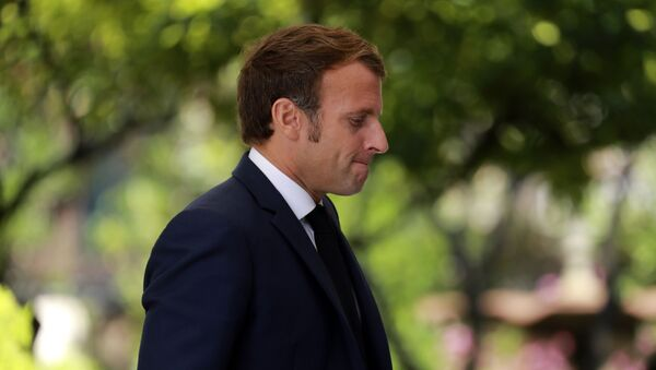 French President Emmanuel Macron arrives to give a press conference at Corsica's prefecture in Ajaccio, Corsica island, Thursday Sept.10, 2020 - Sputnik International