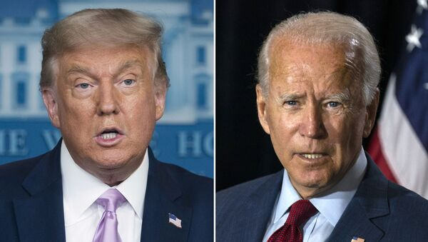 In this combination photo, president Donald Trump, left, speaks at a news conference on Aug. 11, 2020, in Washington and Democratic presidential candidate former Vice President Joe Biden speaks in Wilmington, Del. on Aug. 13, 2020. - Sputnik International