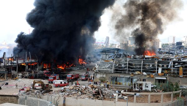 A view shows the site of a fire that broke out at Beirut's port area, Lebanon September 10, 2020. - Sputnik International