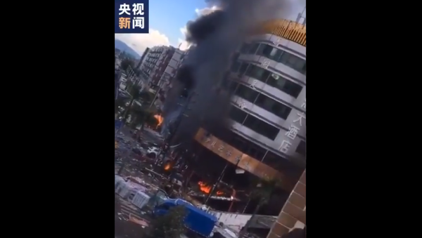 Screenshot from a video showing the aftermath of the explosion at the hotel in Chinese city of Zhuhai - Sputnik International