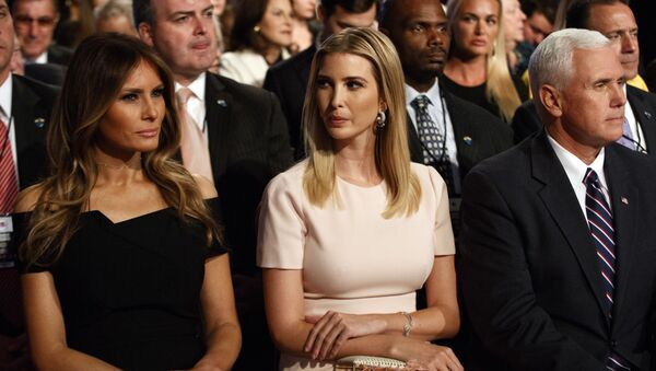 Melania Trump, left, Ivanka Trump, center, and vice presidential candidate Indiana Gov. Mike Pence wait for the beginning of the first presidential debate between Republican presidential candidate Donald Trump and Democratic presidential candidate Hillary Clinton at Hofstra University, Monday, Sept. 26, 2016, in Hempstead, N.Y - Sputnik International