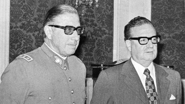 In this Aug. 23, 1973 file photo, Chilean Gen. Augusto Pinochet, left, and President Salvador Allende, attend a ceremony naming Pinochet as commander in chief of the Army. Chile marks the 45th anniversary of the coup led by Pinochet overthrowing Allende, on Wednesday, Sept. 11, 2018. - Sputnik International