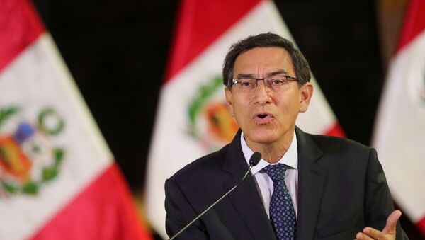 Peru's President Martin Vizcarra addresses the nation, as he announces he was dissolving Congress, at the government palace in Lima, Peru September 30, 2019 - Sputnik International