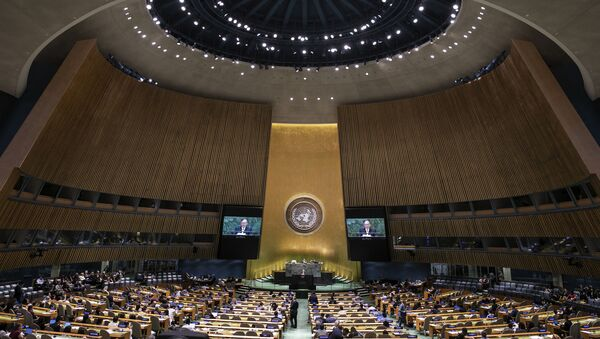 Philippines' Foreign Secretary Teodoro Locsin Jr. addresses the 74th session of the United Nations General Assembly at the U.N. headquarters Saturday, Sept. 28, 2019. - Sputnik International