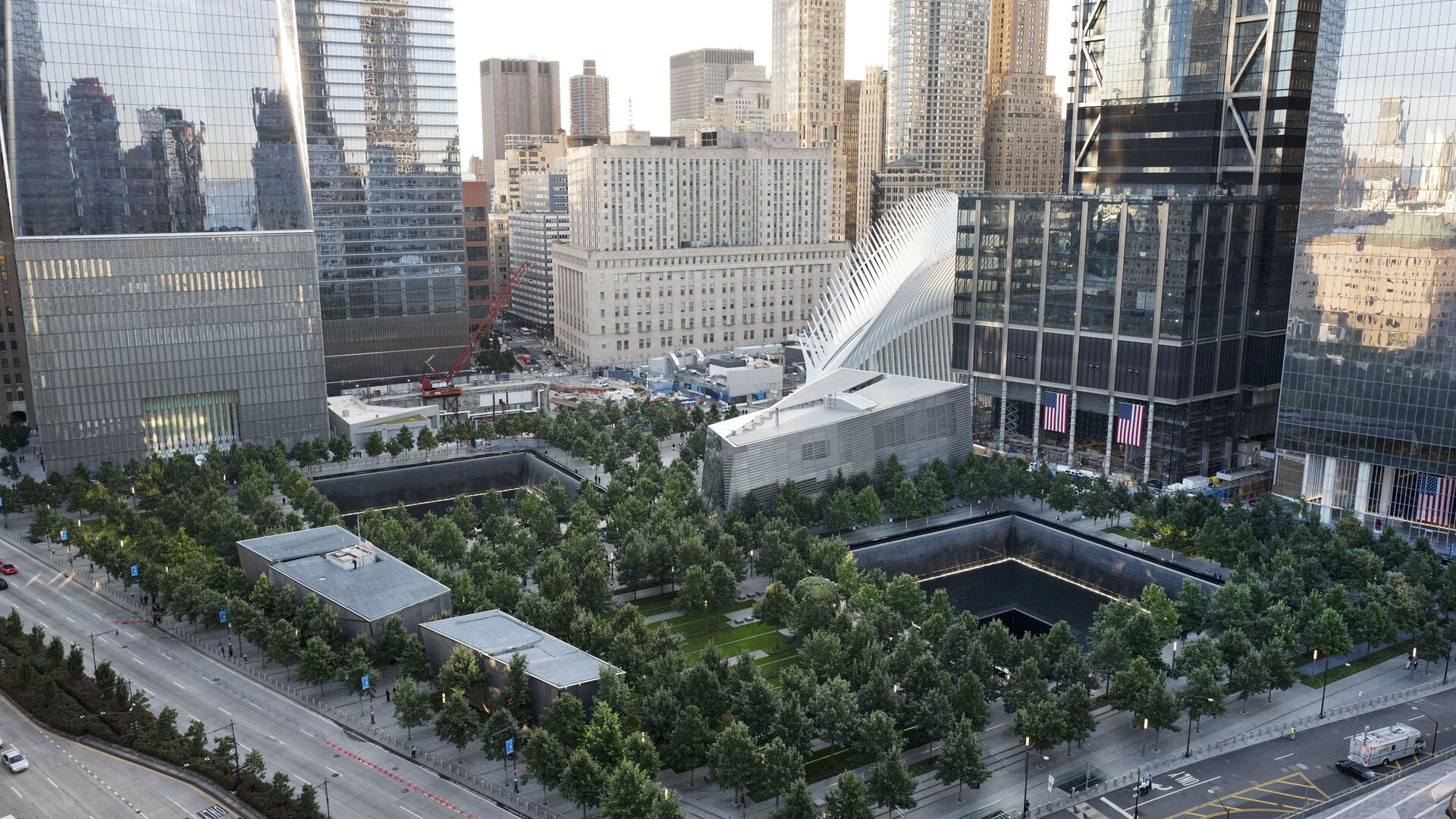 The National September 11 Memorial and Museum are set for a memorial service, Monday, Sept. 11, 2017, in New York. Thousands of 9/11 victims' relatives, survivors, rescuers and others are expected to gather Monday at the World Trade Center to remember the deadliest terror attack on American soil. Nearly 3,000 people died when hijacked planes slammed into the trade center, the Pentagon and a field near Shanksville, Pa., on Sept. 11, 2001.  - Sputnik International, 1920, 03.09.2021