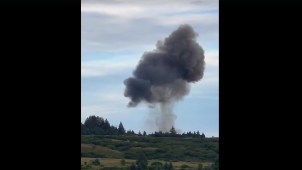 Screenshot from a video showing Astra Rocket 3.1 falling down to the ground and causing a massive explosion in Kodiak, Alaska - Sputnik International