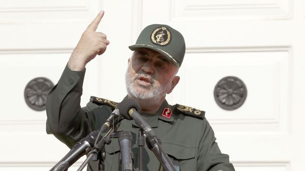 """In this Nov. 2, 2019 file photo, Chief of Iran's Revolutionary Guard Gen. Hossein Salami speaks in a ceremony to unveil new anti-U.S. murals painted on the walls of former U.S. embassy in Tehran, Iran. The chief of Iran's powerful Revolutionary Guard warned Monday, Jan. 27, 2020,  that it will retaliate against American and Israeli commanders if the U.S. continues to threaten top Iranian generals. """"I warn them to withdraw from this field,"""" Gen. Hossein Salami told state television, adding if they do not, they """"will definitely regret it.""""  - Sputnik International"""