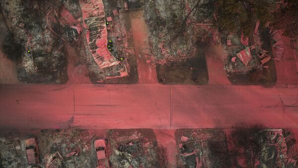 A search and rescue team, surrounded by red fire retardant, look for victims under burned residences and vehicles in the aftermath of the Almeda fire in Talent, Oregon, U.S., September 13, 2020 - Sputnik International