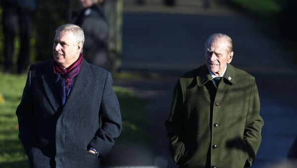 Britain's Prince Andrew, left, and Prince Philip, arrive to attend a Christmas Day Service with other members of the royal family at St. Mary's church on the grounds of Sandringham Estate, the Queen's retreat, in Norfolk, England, Wednesday, Dec. 25, 2013 - Sputnik International