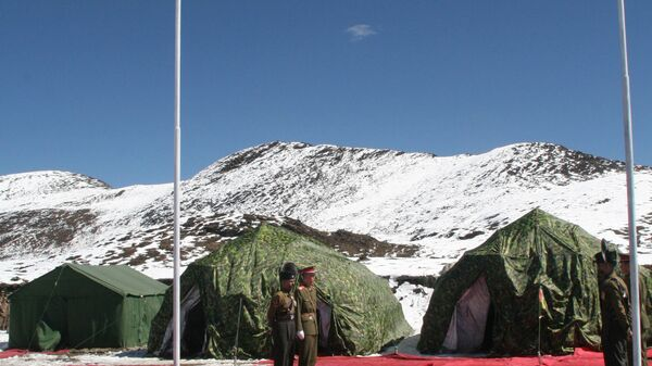 Indian and Chinese Army commanders attend the Border Personnel Meeting (BPM) inside tents on the Chinese side of the Line of Actual Control at Bumla, on the India-China Border, Monday, Oct. 30, 2006 - Sputnik International