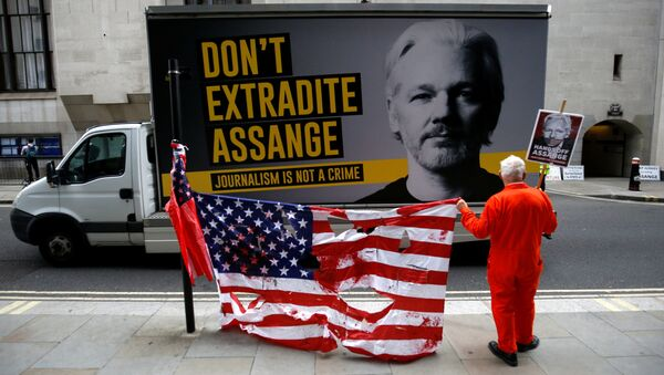 A supporter of WikiLeaks founder Julian Assange protests outside the Old Bailey, the Central Criminal Court ahead of a hearing to decide whether Assange should be extradited to the United States, in London, Britain September 9, 2020 - Sputnik International