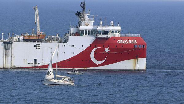 Turkey's research vessel, Oruc Reis anchored off the coast of Antalya on the Mediterranean, Turkey, Sunday, Sept. 13, 2020 - Sputnik International