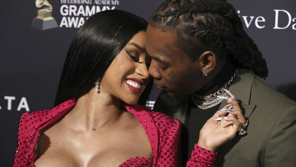 Cardi B, left, and Offset arrive at the Pre-Grammy Gala And Salute To Industry Icons at the Beverly Hilton Hotel on Saturday, Jan. 25, 2020, in Beverly Hills, Calif. - Sputnik International
