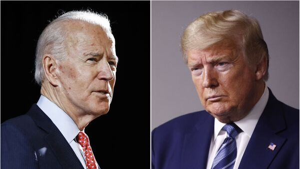 """FILE - In this combination of file photos, former Vice President Joe Biden speaks in Wilmington, Del., on March 12, 2020, left, and President Donald Trump speaks at the White House in Washington on April 5, 2020. Trump has accused his Democratic rival Biden of having connections to the """"radical left"""" and has pilloried his relationship with China, his record on criminal justice, his plans for the pandemic and even his son's business dealings. (AP Photo, File) - Sputnik International"""