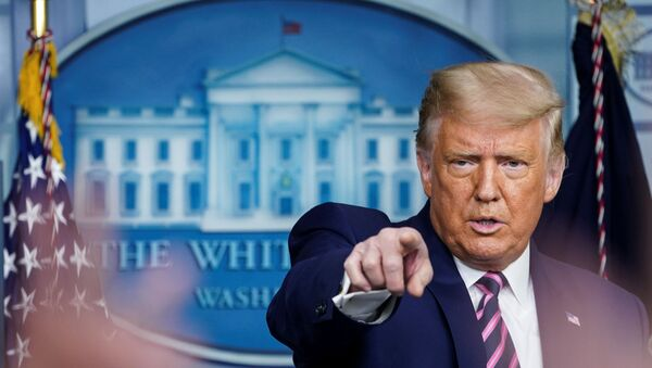 U.S. President Donald Trump takes questions during a news conference in the Brady Press Briefing Room at the White House in Washington, 18 September 2020. - Sputnik International