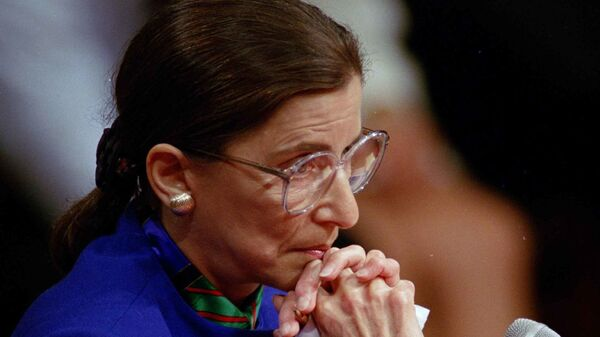 Supreme Court nominee Ruth Bader Ginsburg pauses while testifying before the Senate Judiciary Committee on Tuesday, July 20, 1993 on Capitol Hill in Washington - Sputnik International