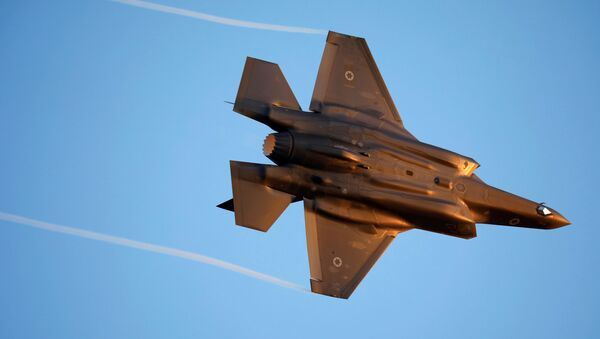 Israeli Air Force F-35 flies during an aerial demonstration at a graduation ceremony for Israeli air force pilots at the Hatzerim air base in southern Israel June 27, 2019 - Sputnik International