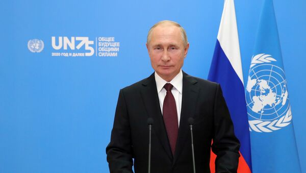 Russia's President Vladimir Putin is seen during his video address to the United Nation's General Assembly in Moscow, Russia September 22, 2020. Sputnik/Mikhail Klimentyev/Kremlin via REUTERS ATTENTION EDITORS - THIS IMAGE WAS PROVIDED BY A THIRD PARTY. - Sputnik International