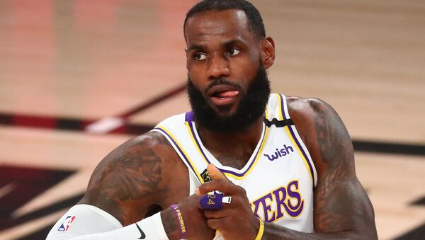 Sep 8, 2020; Lake Buena Vista, Florida, USA; Los Angeles Lakers forward LeBron James (23) reacts during the first half of game three in the second round of the 2020 NBA Playoffs against the Houston Rockets at AdventHealth Arena.  - Sputnik International