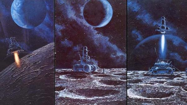 Luna 16. Illustration by Soviet cosmonaut Alexei Leonov and Andrei Sokolov. - Sputnik International